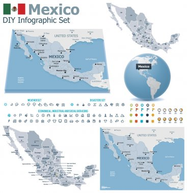 United Mexican States maps with markers