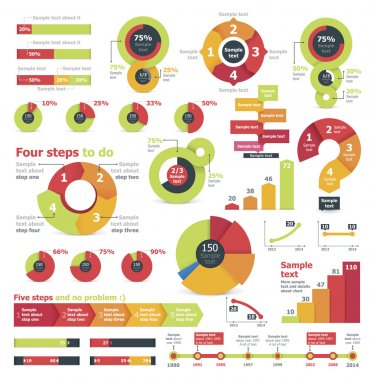 Set of the colorful charts, pie charts and other infographic design elements stock vector