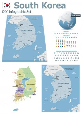 South Korea maps with markers