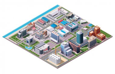 Isometric industrial and business city district map