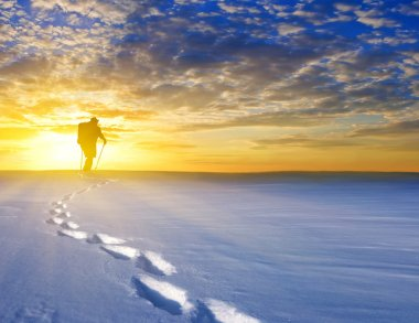 hiker among a snowbound plains at the sunset