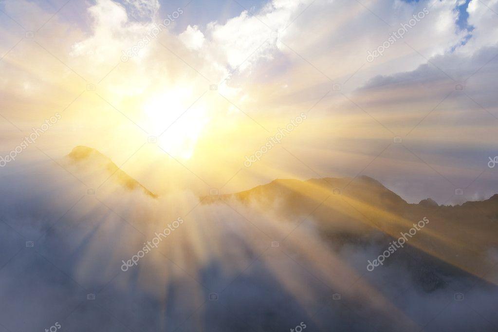 sunny mountain scene