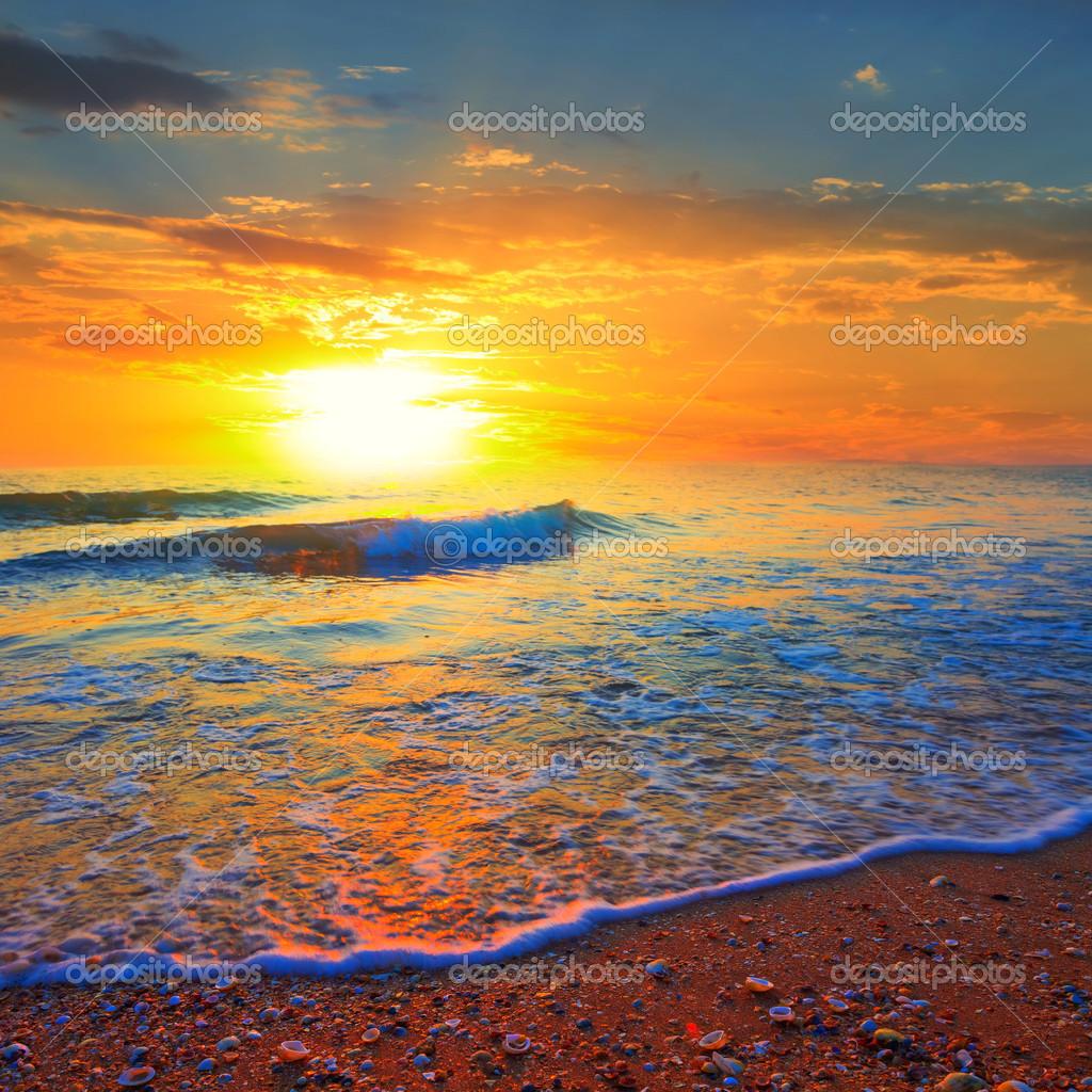 Beautiful sea coast at the dramatic sunset
