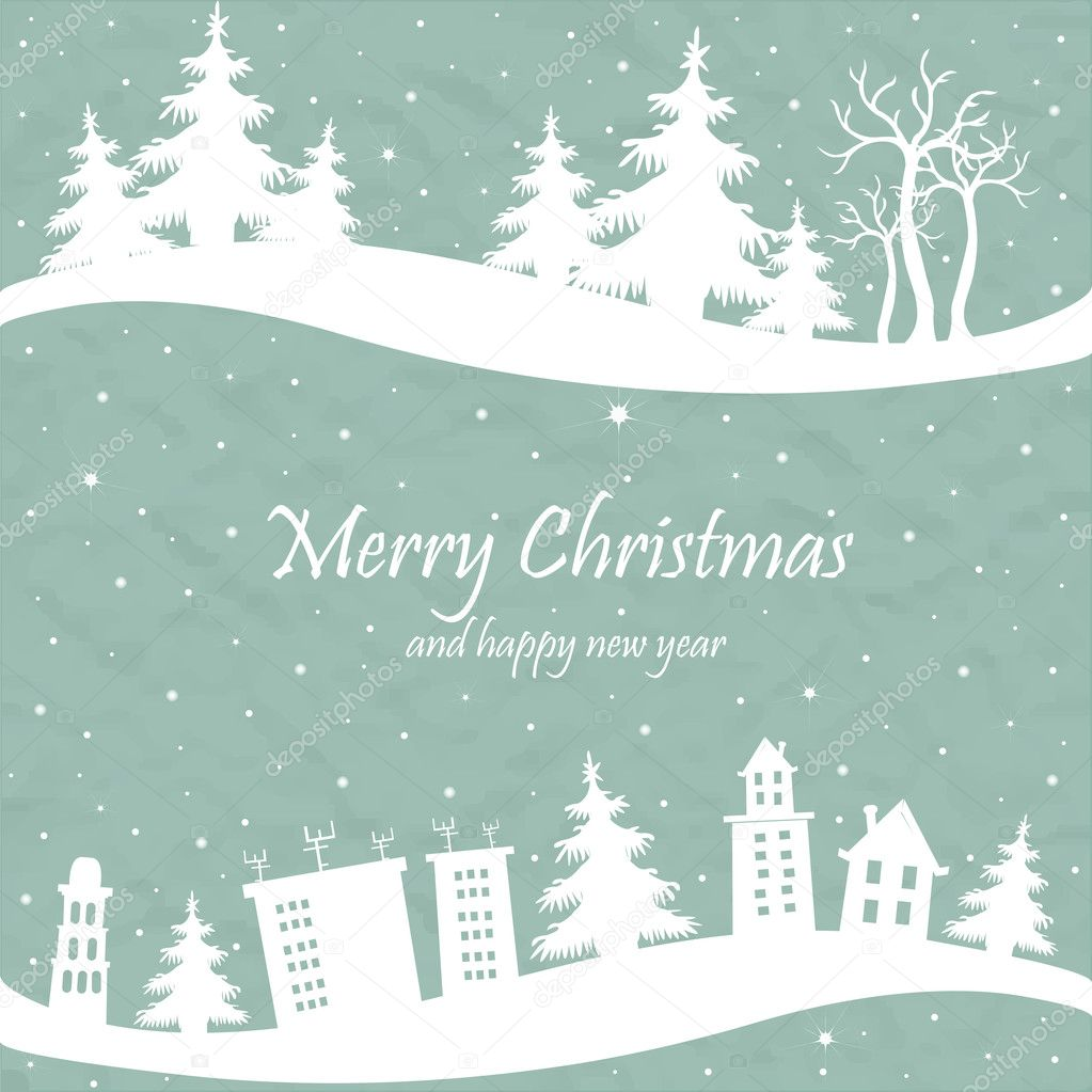 Christmas card with the shape of houses and trees
