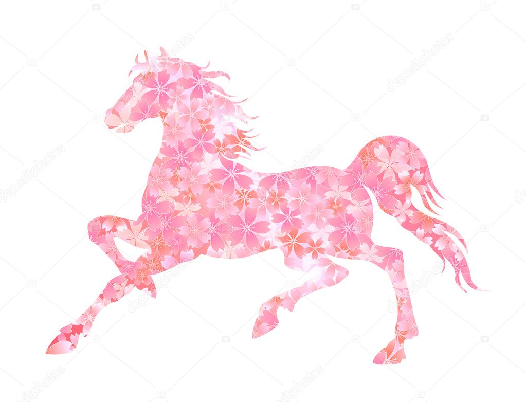 Horse Sakura New Year s card