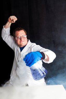 Scientist enjoying his work