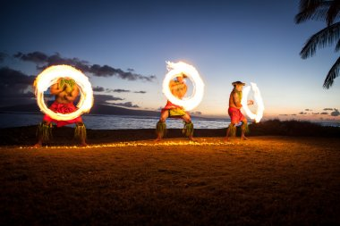 Hawaiian FIre Dancers at the Ocean