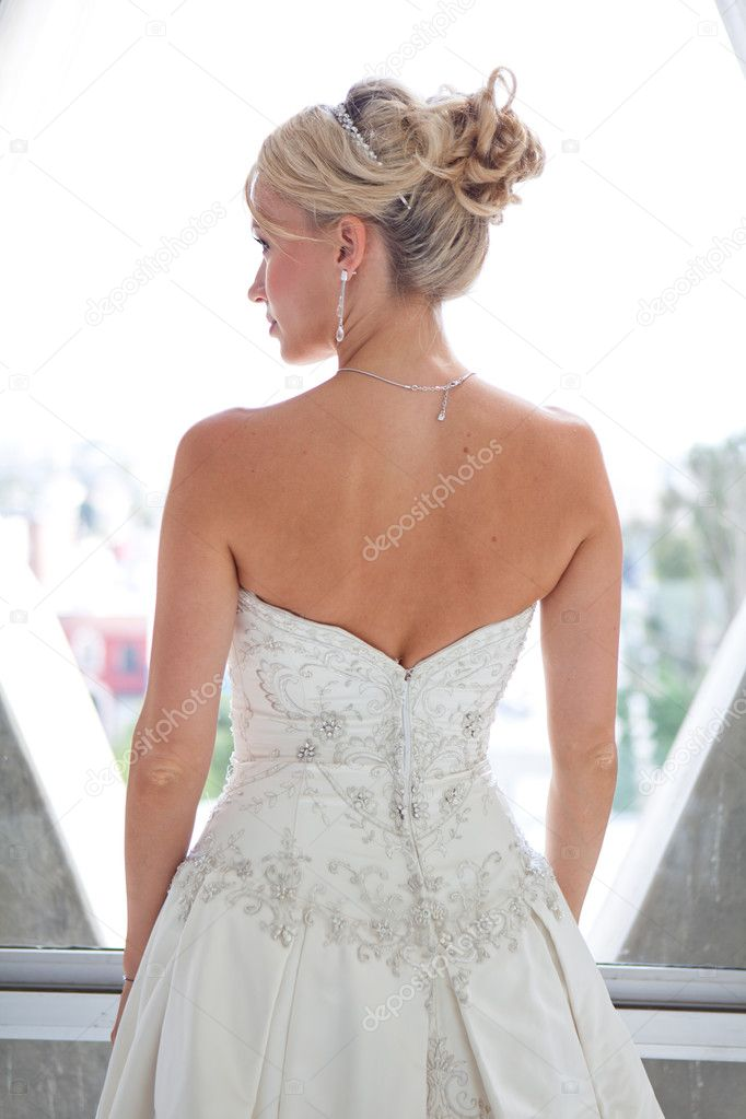 Beautiful blond bride back view