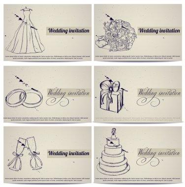 Vintage wedding invitation cards set.