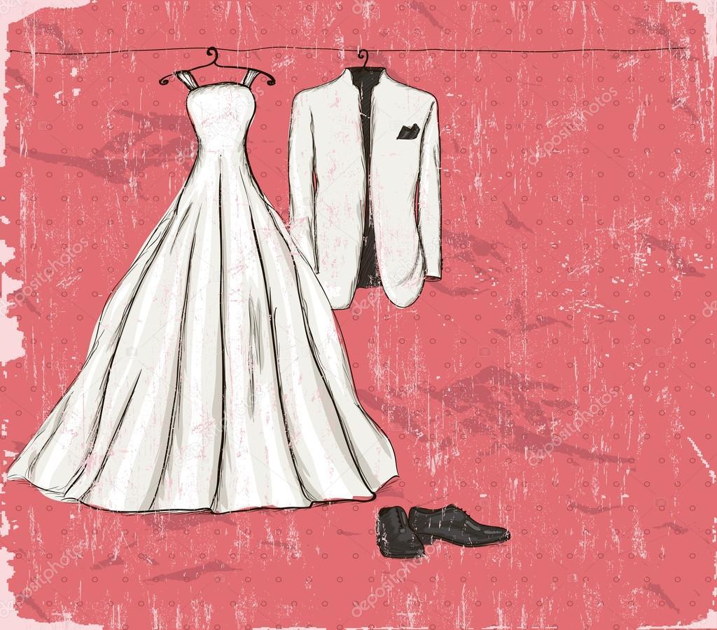 cartel vintage con un vestido de novia — Vector de stock © Yunna ...