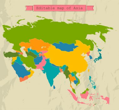 Editable Asia map with all countries.