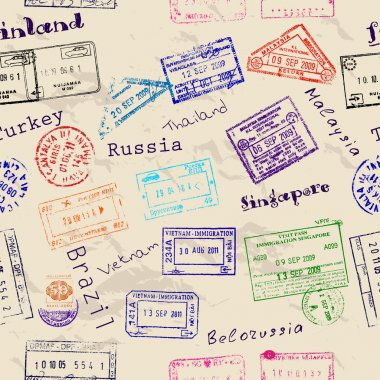 Seamless texture with real visa stamps from 9 countries. Vector illustration EPS8 stock vector