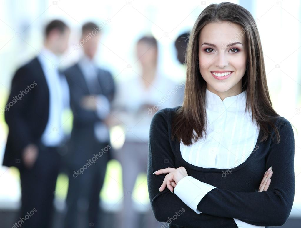 Face of beautiful woman on the background of business
