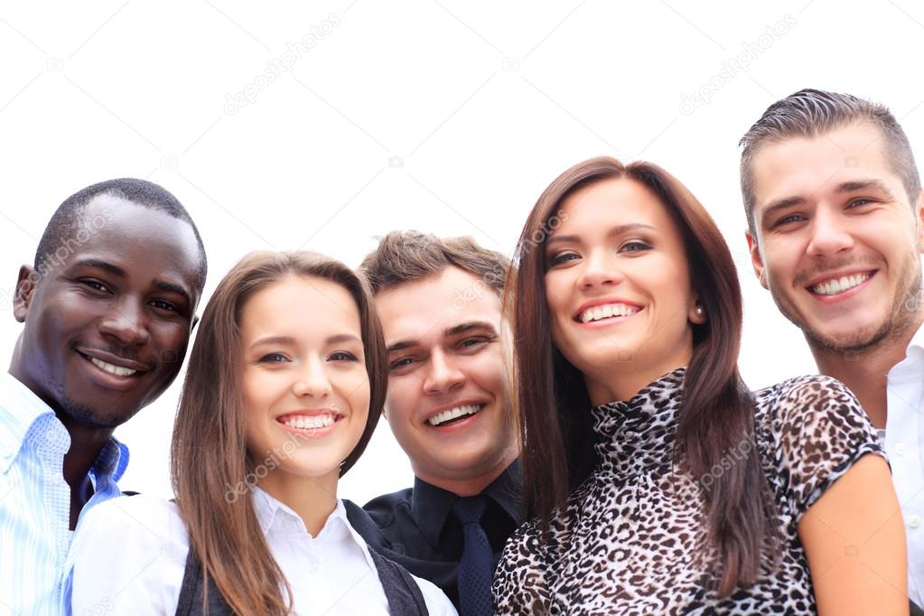 Group of business people laughing and smiling