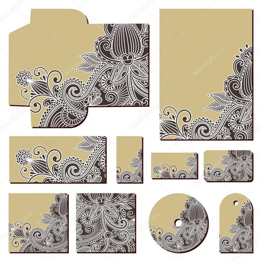verzieren floral Business-Stil-Vorlagen — Stockvektor © karakotsya ...