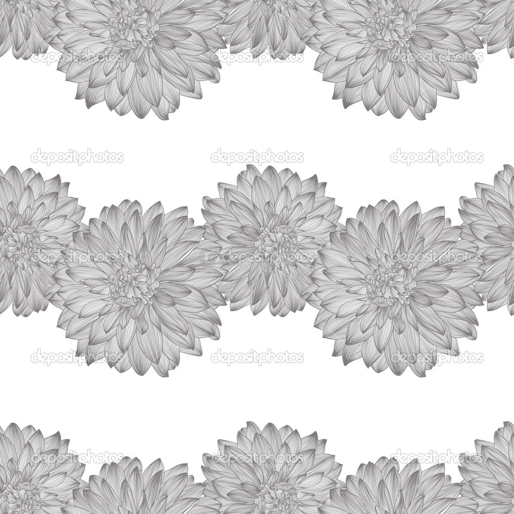 Seamless Pattern With Drawing Of Dahlia Flower Stock Vector
