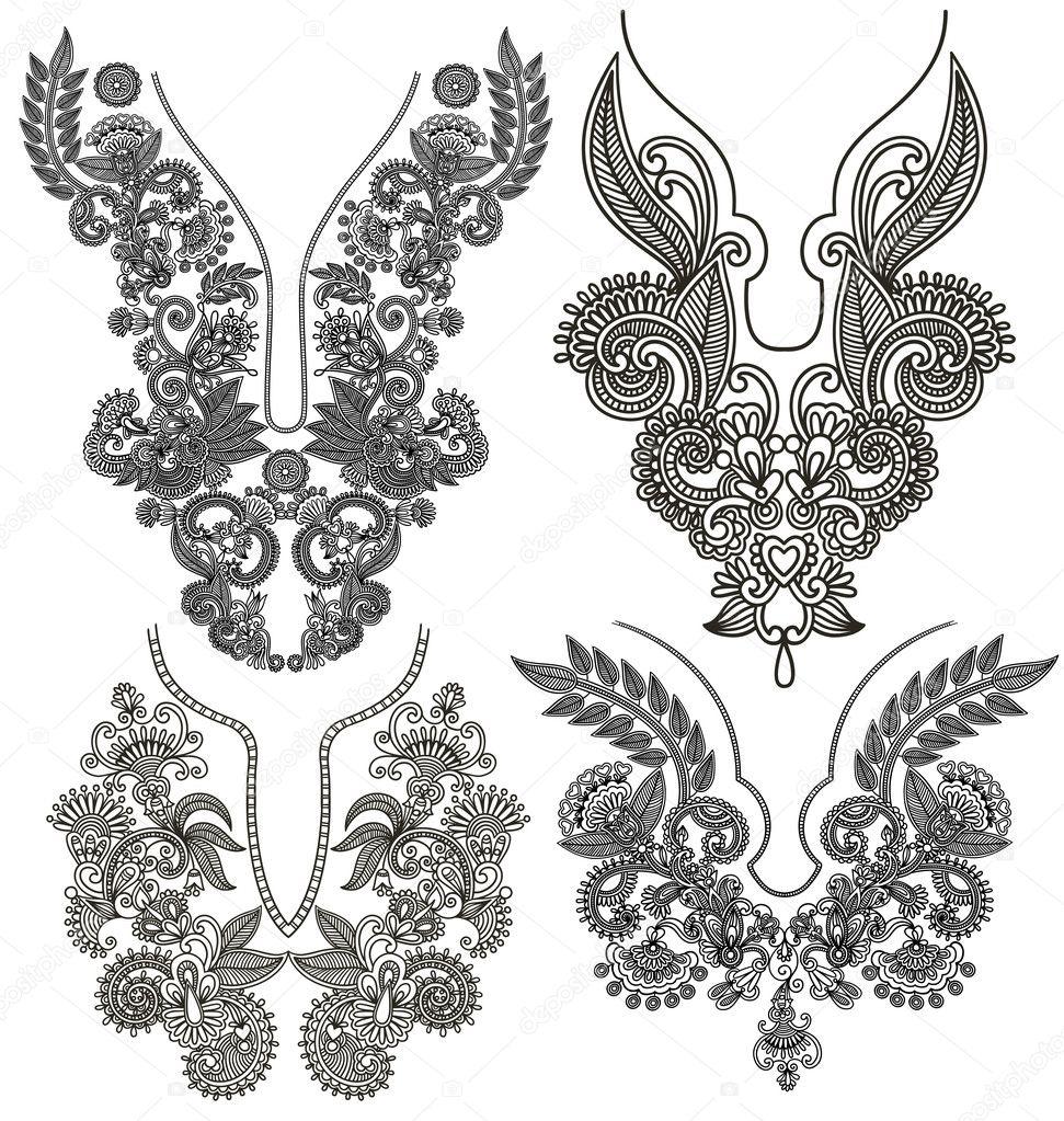 colección de moda ornamentales florales escote bordado — Archivo ...