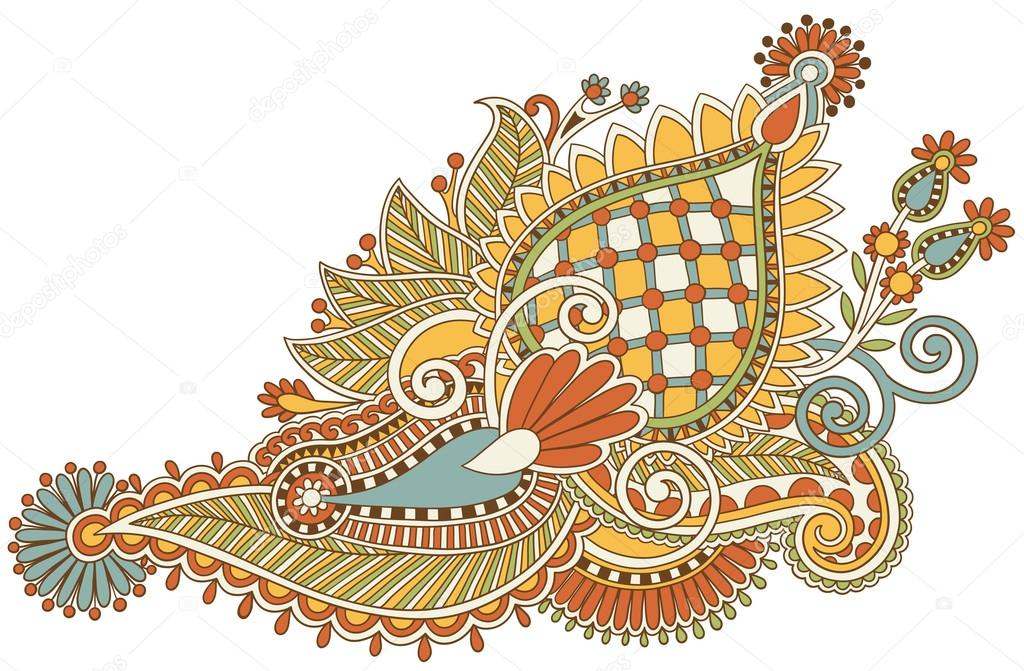 Line Art Flower Design : Original hand draw line art ornate flower design u stock vector