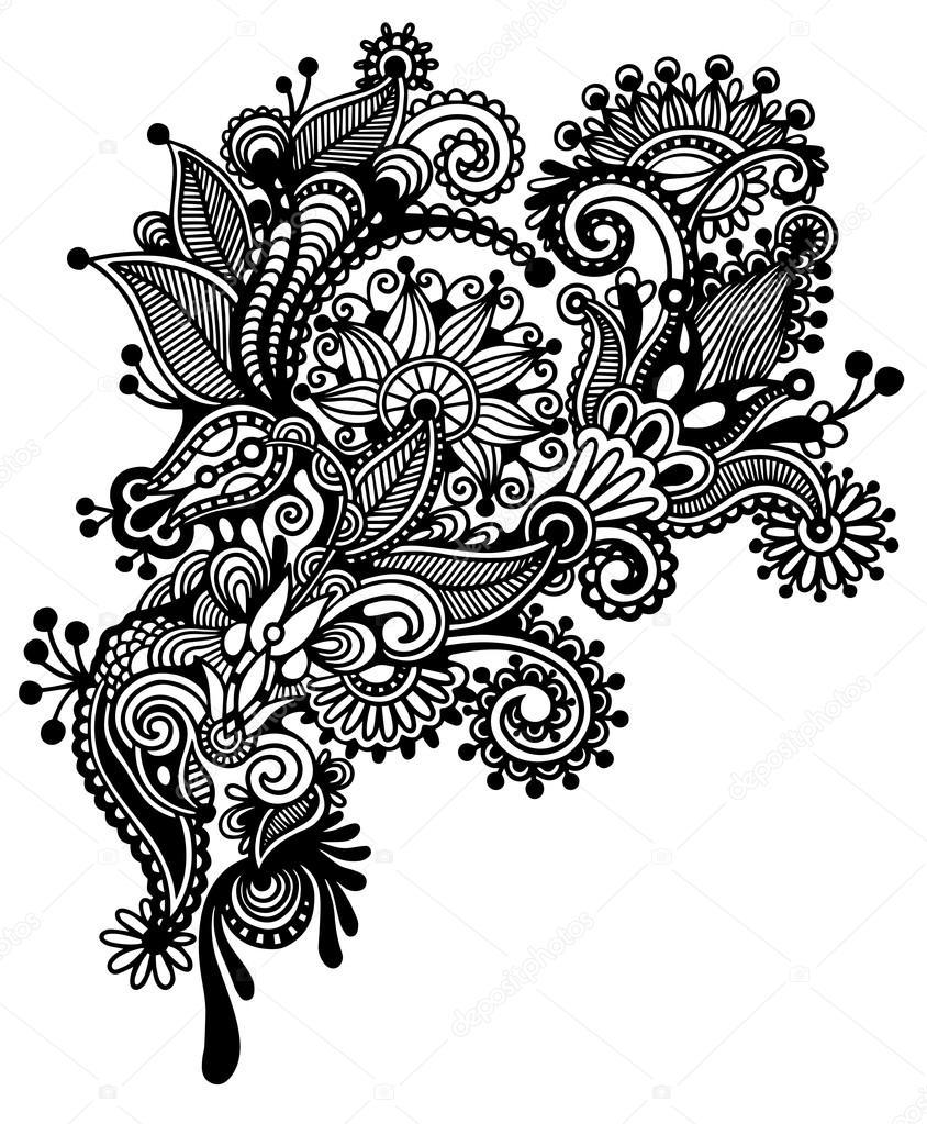 Hand draw black and white line art ornate flower design ...