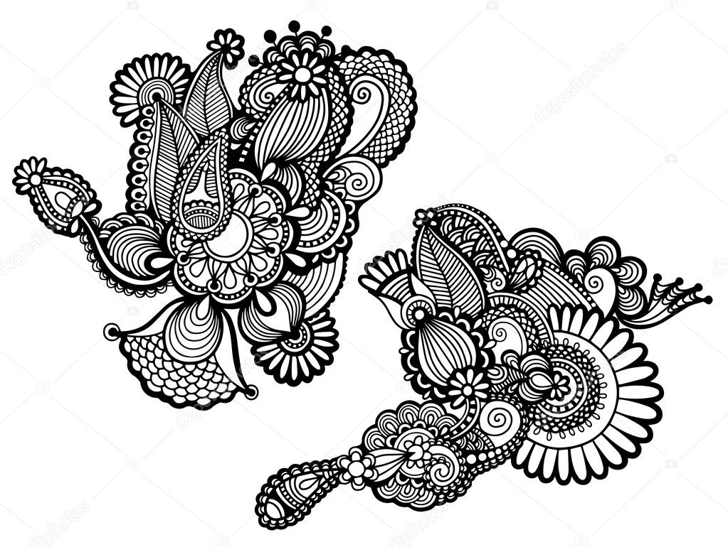 Traditional Flower Line Drawing : Original hand draw line art ornate flower design — stock