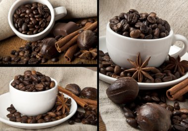 Coffee grains and spices collage