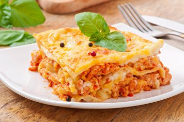 Classic Lasagna with bolognese sauce stock vector