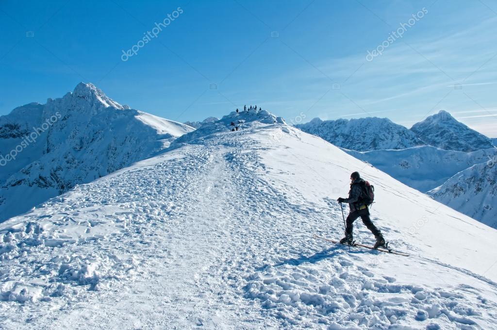 A man wandering through the mountains Tatras.