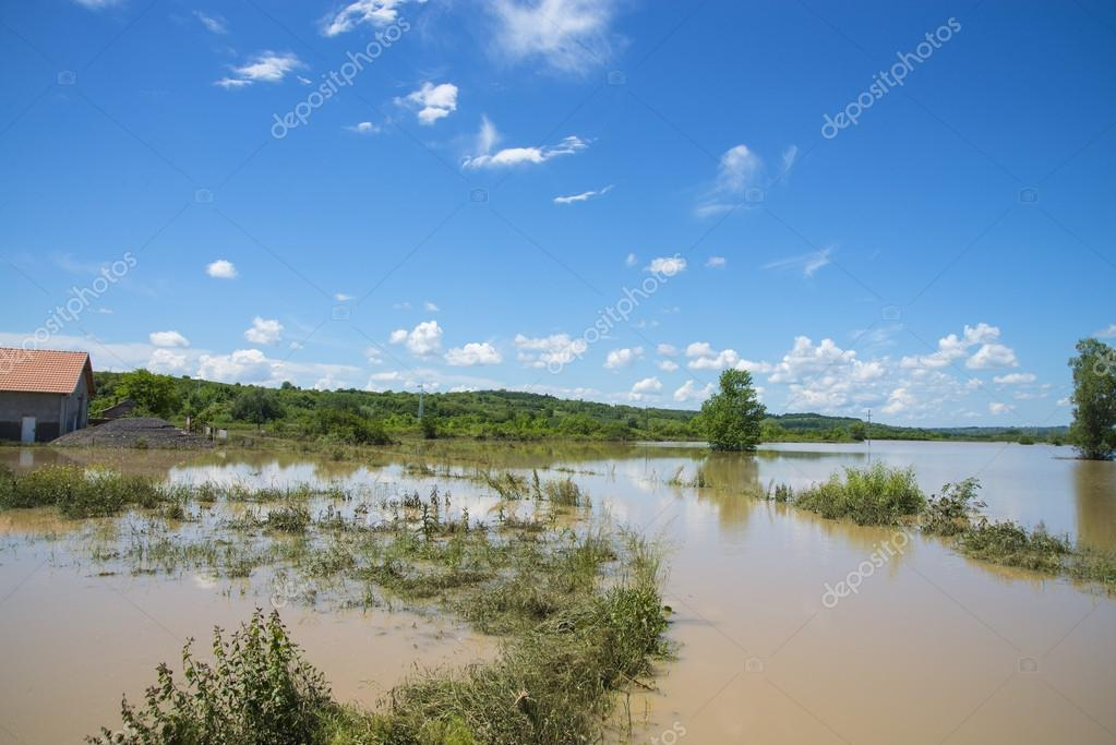 Great flood which included houses, fields, forests