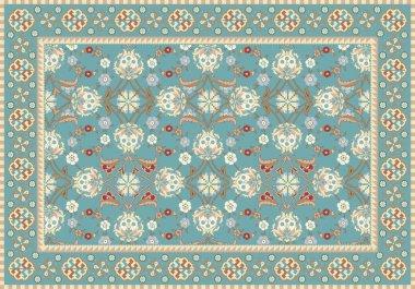 Blue Oriental Floral Carpet Design