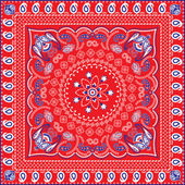 Red, Blue  White Retro Patterned Bandana or Head Scarf