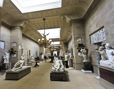 A View of the Chatsworth Sculpture Gallery, England
