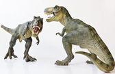 Fotografia una coppia di tirannosauro su sfondo bianco