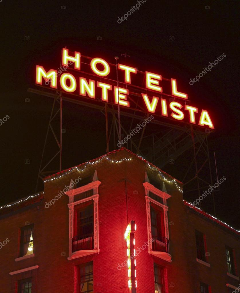 A Hotel Monte Vista Sign at Night