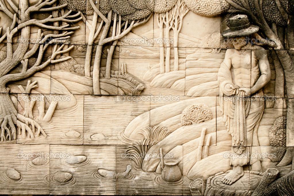 arte nativo moldeado en pared de estilo tailandés — Foto de stock ...