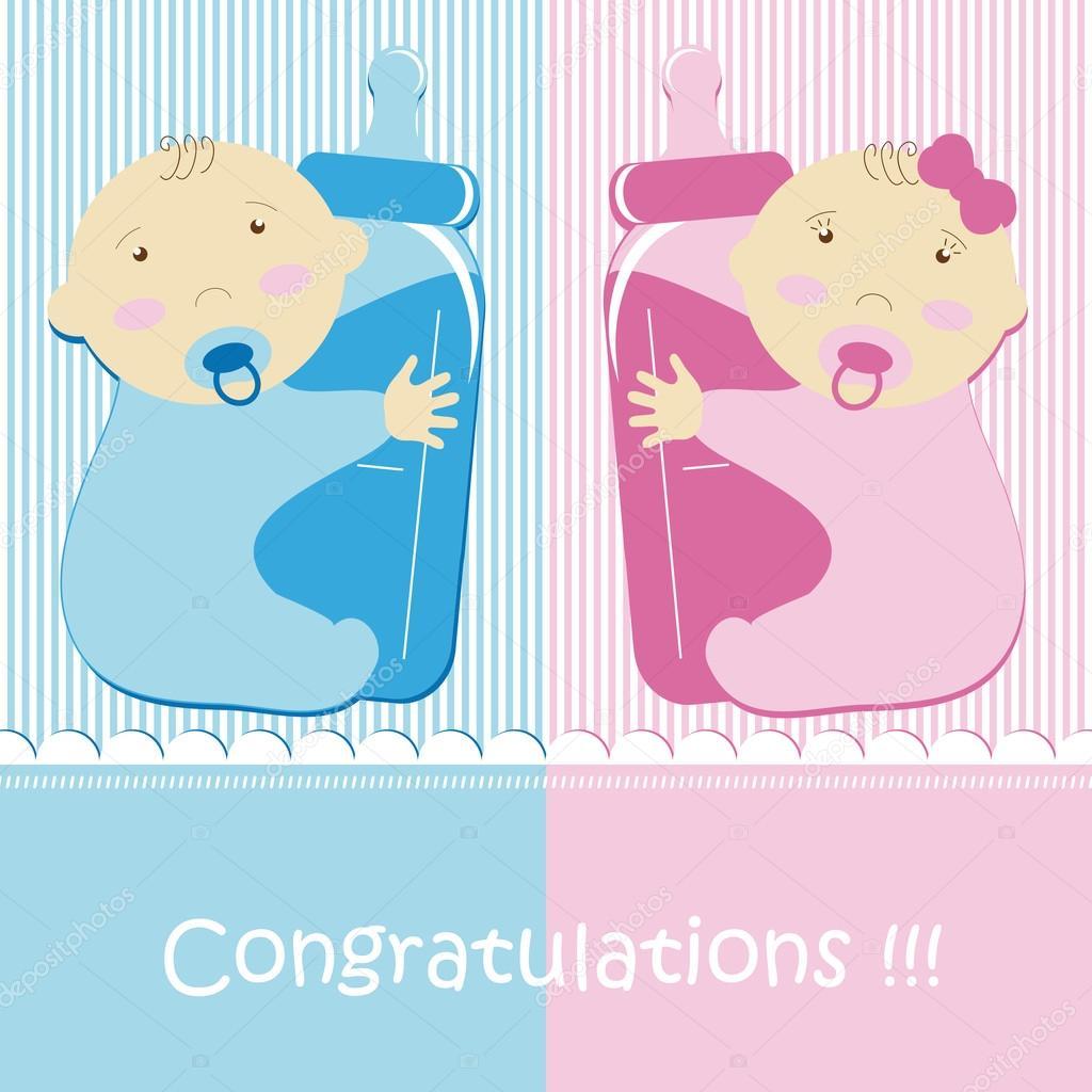 Twins Baby Boy And Girl Stock Vector 169 Blondina103 12706968