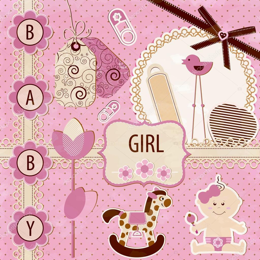 How to scrapbook for baby girl - Scrapbook Baby Girl Set Stock Vector 12936829