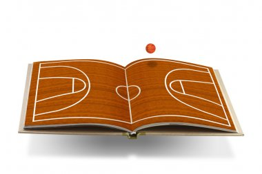 Open book with basketball court