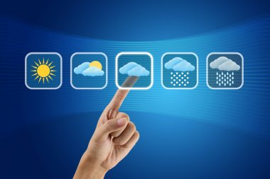 Finger pushing Weather icon stock vector