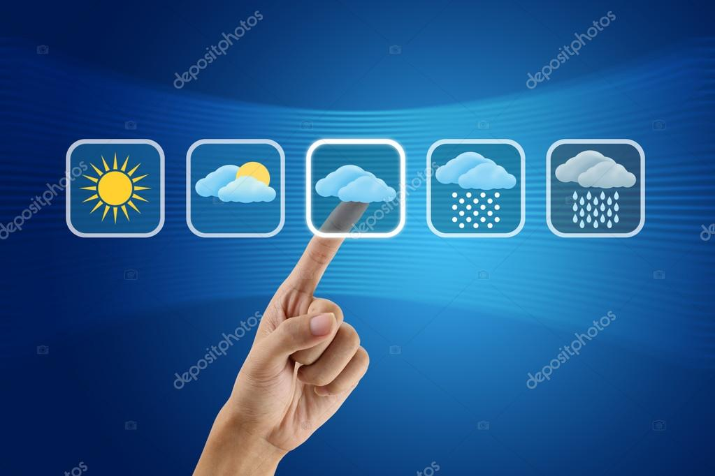 finger pushing Weather icon