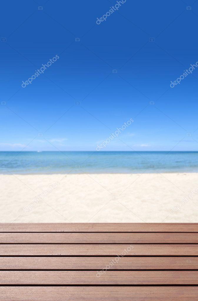 Wood terrace on the beach