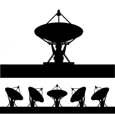 Silhouette satellite dish vector