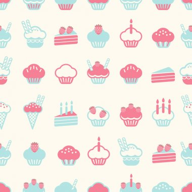 Seamless cake pattern soft vintage color style. Vector illustrat