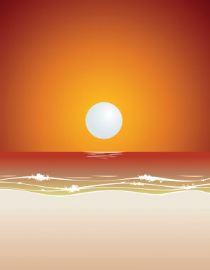 Sunset beach background vector