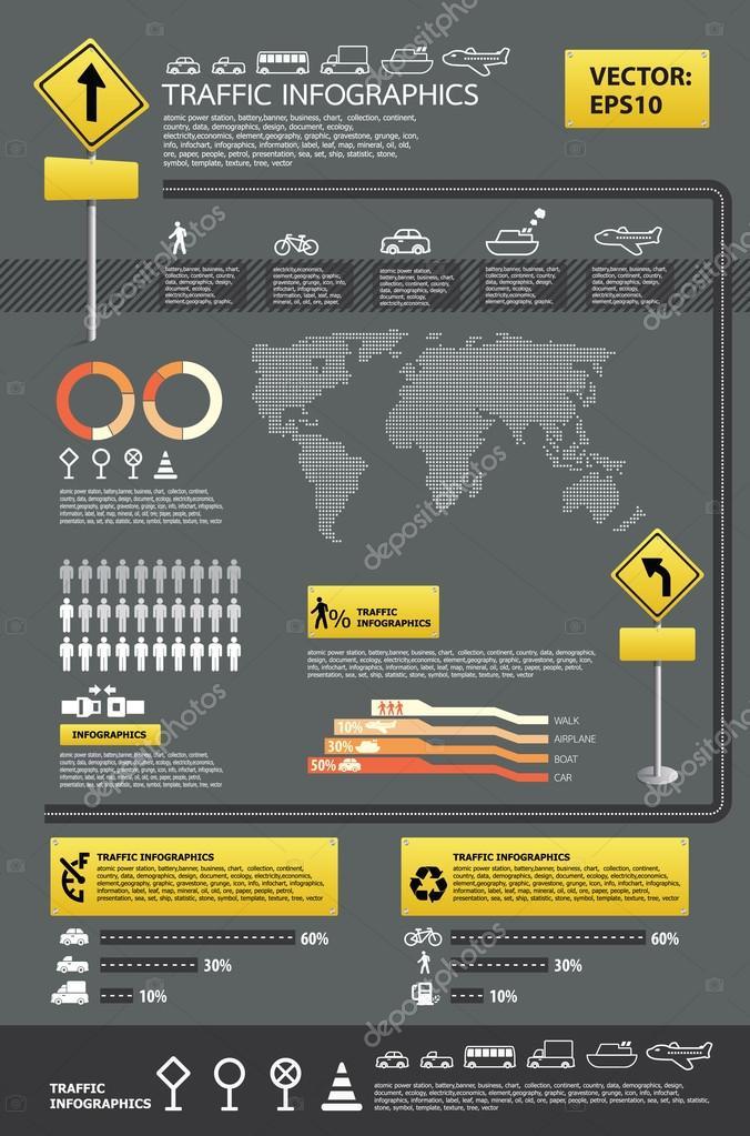 Infographic vector traffic set