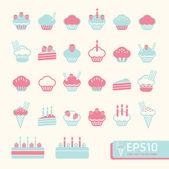 Cup cake měkké barvy. vektorové ilustrace