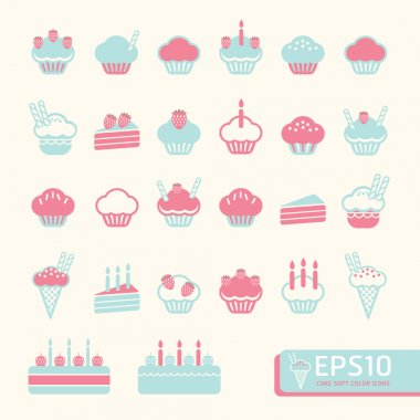 cup cake soft color . Vector illustration