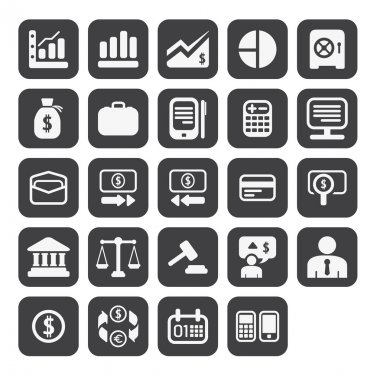 Finance and business icon set in black color button frame