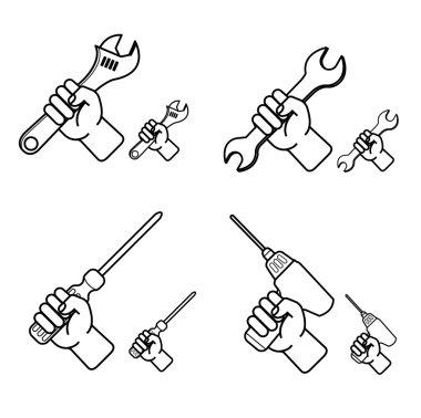 Hand tools icon set white background