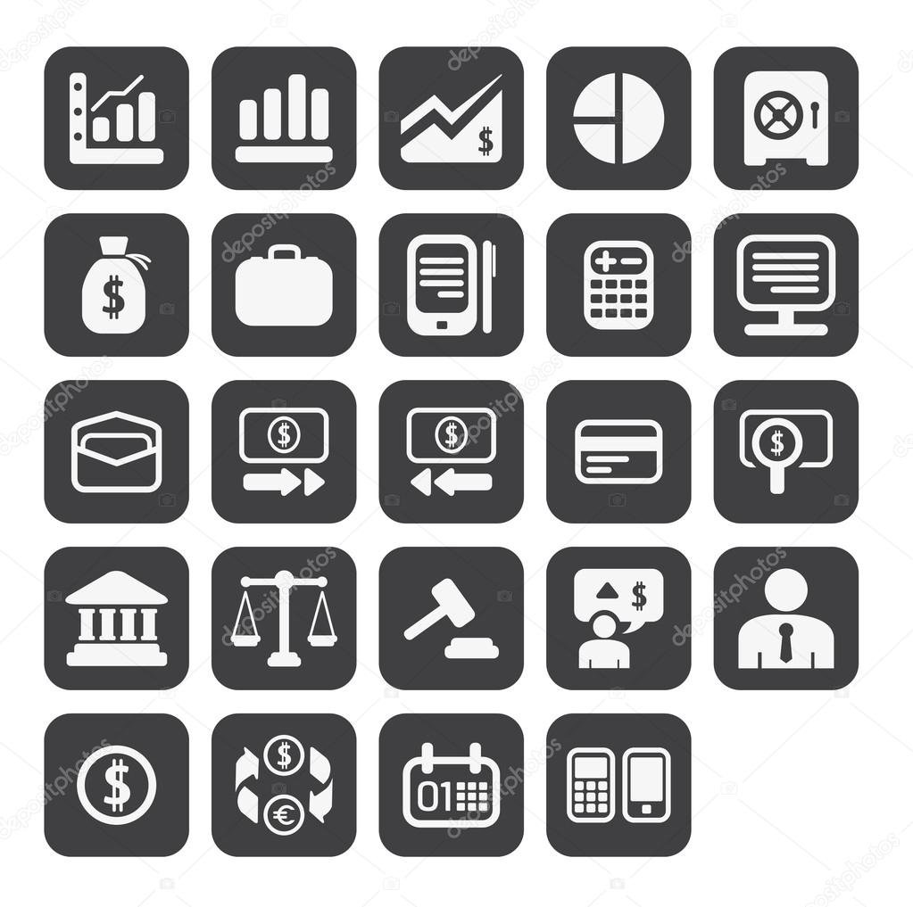 Finance Icon Set: Finance And Business Icon Set In Black Color Button Frame