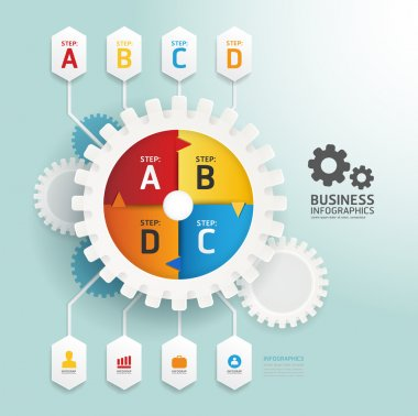 Modern Design gear style infographic template